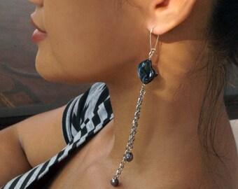Long Chandalier Earrings, Blue Shell Earrings, Boho Earrings, Pearl Earrings