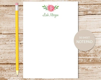 personalized rose notepad . watercolor rose note pad . personalized stationery . botanical stationary