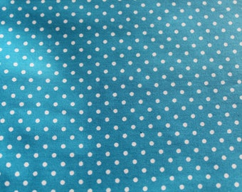 50 x 70 cm turquoise and white polka dots coated fabric