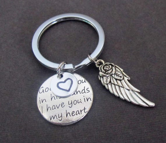 God has you in his hands I have you in my heart,Angel Wing Key Chain,Bereavement Gift,loss of loved one,Memorial KeyChain, Free Shipping USA