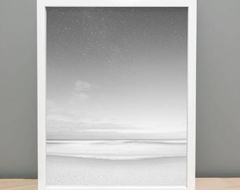Beach Stars Black and White - Printable Art Photography