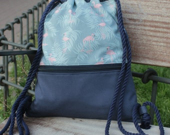 Backpack - Flamingos -Backpack handmade in canvas and cotton