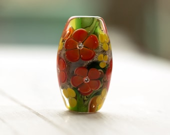 Bright Floral Lampwork Glass Focal Bead Green with Orange Flowers and Cubic Zirconia