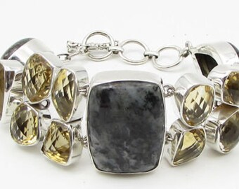925 sterling silver - multi gemstone geometric 30mm heavy chain bracelet b1066