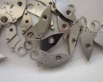 24 Vintage Watch Parts, Original Rhodium Plated Brass, Etched Plus and Minus Signs, 13mm x 6mm