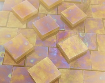 IRIDIZED AMBER & WHITE Translucent Stained Glass Mosaic Tile  Z2/T15