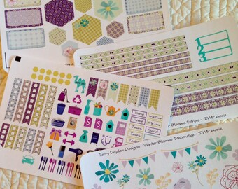 Winter Blooms Weekly Planner Stickers for Inkwell Press, Erin Condren and most other horizontal and vertical planners