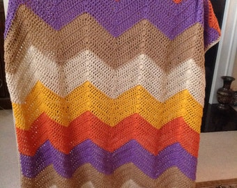 Autumn Chevron Chrochet Blanket