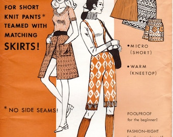 1970s Shorts and Matching Skirts - Vintage Pattern Else 180 - Knit n Fit Combo Hip 30 to 42 UNCUT FF