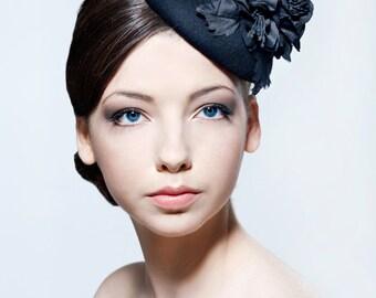 Elegant black felt percher hat with silk dupion flower spray perfect for weddings, Ascot, the Melbourne Cup.