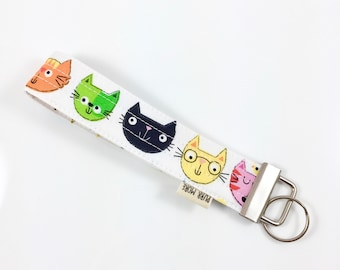 Cat Heads Key Fob For Mew Cat Lover Key Chain, Gift For Cat Lover
