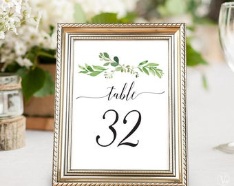 Printable Wedding Table Numbers 1–40, Wedding Table Numbers, INSTANT DOWNLOAD, 5x7 and 4x6 sizes, Garden Greenery