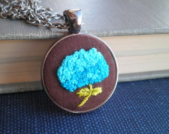 Embroidered Necklace - Blue Hydrangea Floral Embroidery Fiber Art Nature Necklace - Bohemian Garden Flower Pendant Jewelry Gift For Her