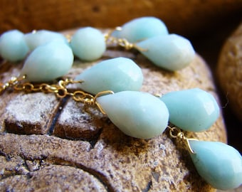 Sale Earrings sky Blue Amazonite.  Natural gemstone Cascade earrings. Gold silver or rose gold