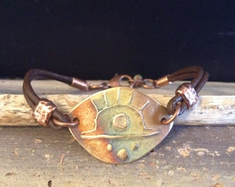 Copper Sun Brown Leather Bracelet!  Item L115