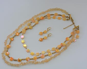 Dyed Shell & Glass Bead Necklace and Earrings