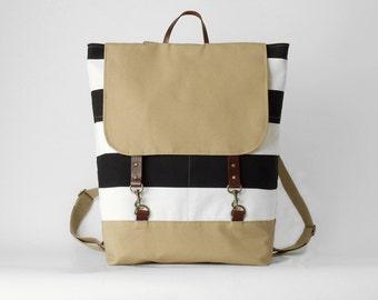 Black stripe canvas backpack, laptop backpack, diaper bag,  diaper backpack, school bag with 2 front pockets, Design by BagyBags
