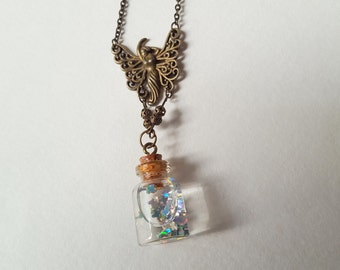 Cute Bottle Necklace, Madame Butterfly, Floating Glitter, Butterfly Vial Necklace, Cute Pretty Necklace, Bottle Pendant, and Butterflies