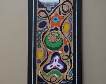 """Canyon Last Call; 12"""" x 24"""" Acrylic, Ink and Photos abstract painting/mixed media on canvas."""