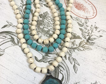 """NEW! Knotted necklaces,matte magnasite, turquoise or white color,knotted necklace strand,8mm beads,work is done,2 sizes, 34"""" or 64"""",matte"""