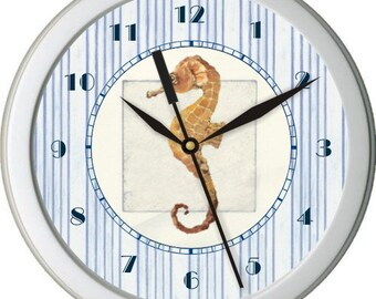 """Personalized 10"""" Nautical Seahorse Wall Clock Blue and White Ticking Home Decor Bathroom Osean"""