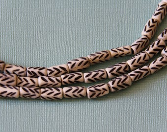 Bone Tube Beads with Feather Design - B+H 036