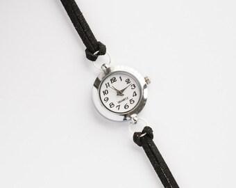 Black Suede Bracelet Watch