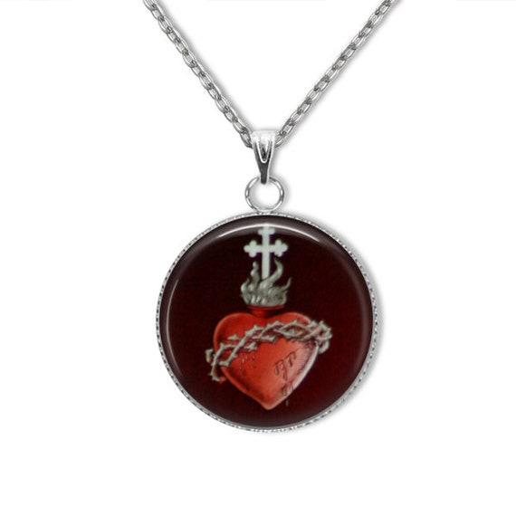 Sacred Heart of Jesus stainless steel Pendant with 18 or 24 in stainless steel necklace, hypoallergenic