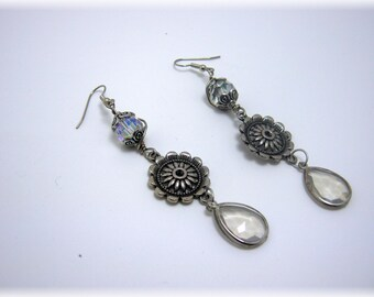 Steampunk  Silver Glass/ Wire Wrapped Dangle Earrings-Gift