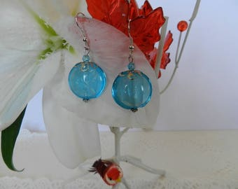 TRANSLUCENT TURQUOISE LAMPWORK EARRINGS