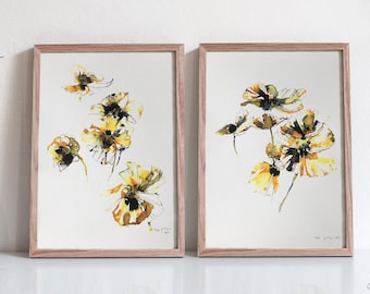 Set of 2 - Yellow Poppies - Limited Edition Ink and Watercolor Painting / Wall Art Print / Abstract Art / Home Decor