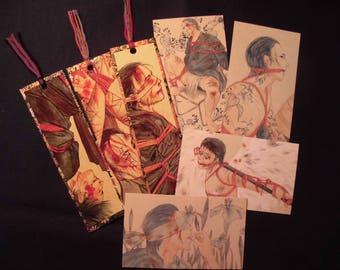 "Japanese Erotic Art ""Chinure Kinbaku"" 3 Bookmarks&4MiniCards"