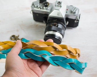 Turquoise Camera Strap, Leather Camera Strap for women, Braided, Boho Mustard yellow