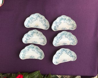 Blue and White Victorian Bonn Bone Dish Plate Germany