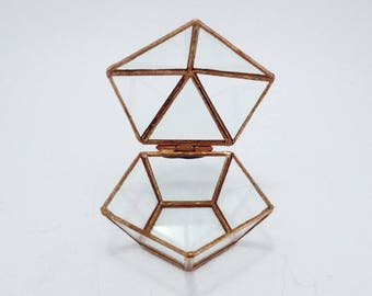Glass ring box Wedding ring box Geometric glass box Bridesmaid gift Geometric jewelry box Cooper ring box Ring pillow Pentagon box