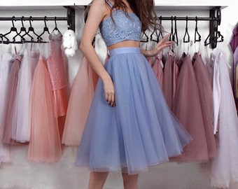 """Tulle skirt with matching lining, fixed waistband with hidden zipper """"sun-shaped""""  (color - Light Blue #30)"""