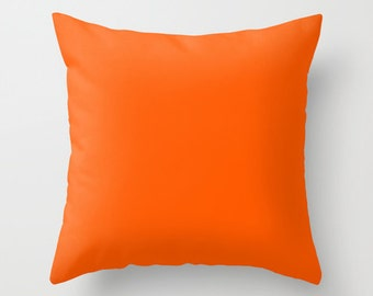 Willpower Pillow, #FD5800, Solid Orange Pillow, Bright Orange Pillow, Orange Pillow, Orange Decor, Minimalist Decor, Minimalist Pillow