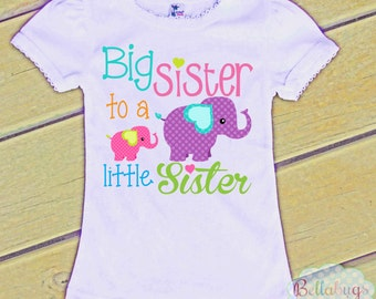 Elephants Big Sister to a Little Sister Bodysuit or Tshirt - Girl Shirt or Bodysuit - Personalized
