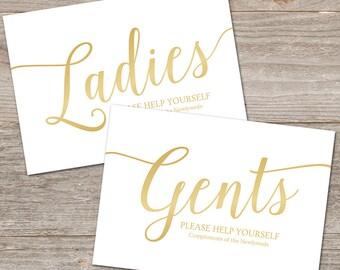 Bathroom Signs Wedding // Gold Wedding Bathroom Sign Printable // Gold Wedding Signs for Wedding Toiletries, Instant Download