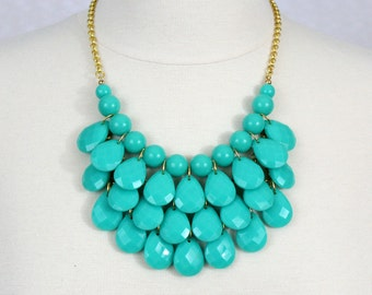 Teal Teardrop Statement Necklace Turquoise Green Bib Necklace Multi Layered Necklace Chunky Necklace