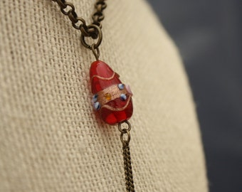up-cycled red glass and bronze chain y-necklace