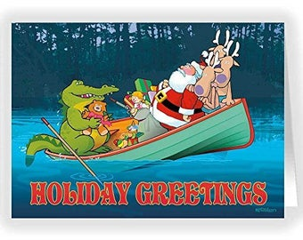 Santa & Alligator Funny Christmas Card - 18 Cards  adn  Envelopes - KX304