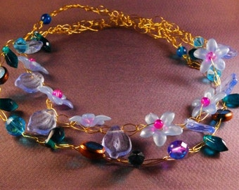 Blue Flower Woodland Necklace
