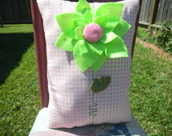"12""x17"" - Stuffed Pillow - Felt flower with beaded center"