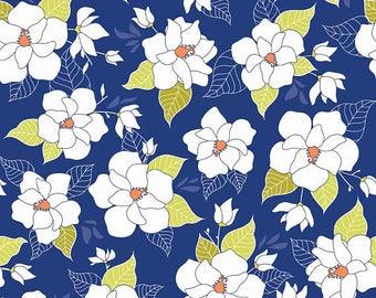 Lula Magnolia Main in Blue Yardage - Half Yard Cuts - The Quilted Fish - Riley Blake Designs - C3770