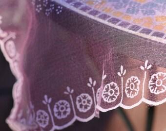 50s pink scarf | japan flocked scarf | gauzy handkerchief | 50s flocked scarf | pink flower scarf | vintage japanese scarf