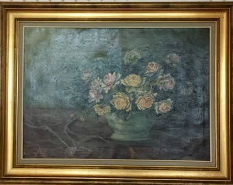 Antique Oil Painting of Roses and Silky Tablecloth with Original Frame Artist Signed A.DE CALUWE ZELE Belgium