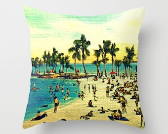 Coastal Pillow Cover 18x18 Coastal Decor,  Beach House Decorative Pillows for couch, Beach House Pillow, Coastal Pillow Decorative Pillows