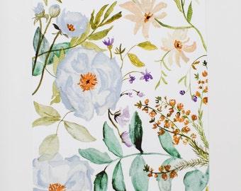 Dusty Blue Floral Print - 8 x 10 - Watercolor - Illustration - Art Print