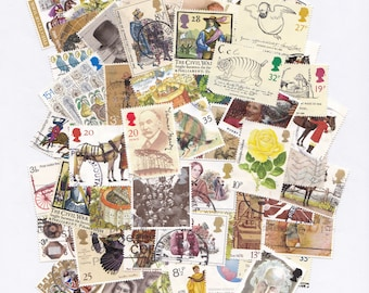 Brown, Gold and Yellow Colour-themed Used Old Postage Stamps; scrapbook, paper ephemera, craft supplies, collage, decoupage, autumn, rustic